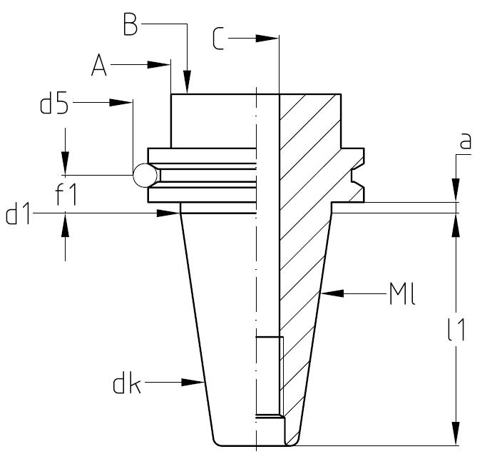 cat 40 tool holder dimensions. tool holder taper complete measuring units - steep 40 (din) v-flange cat dimensions i