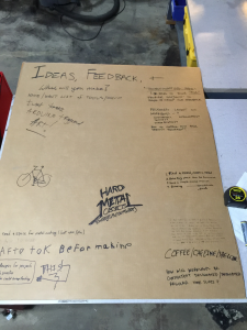 Ideas posted on a piece of cardboard by those who attended our first planning and informational meeting, Dec. 17, 2015